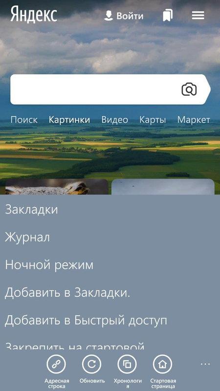 основное меню в Maxthon Browser