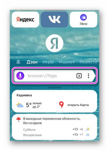 Поисковая строка в мобильной версии