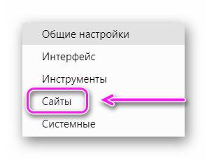 Раздел сайты