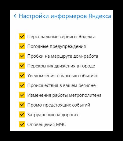 Настрйока информеров Яндекса