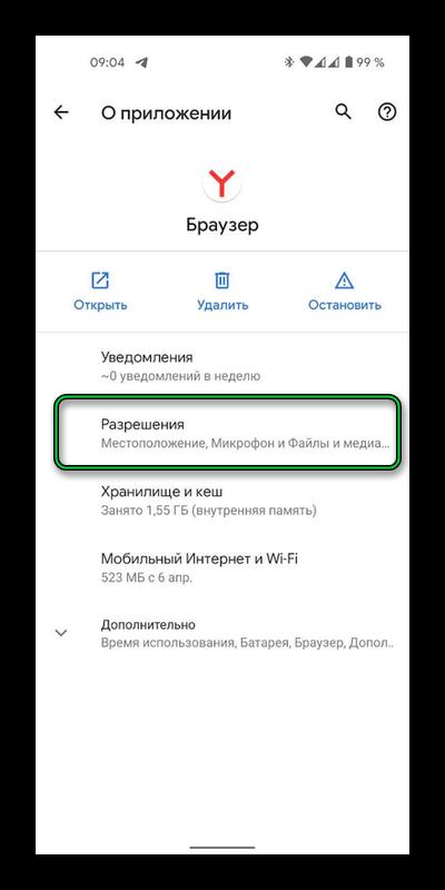 раздел браузера в настройках приложений